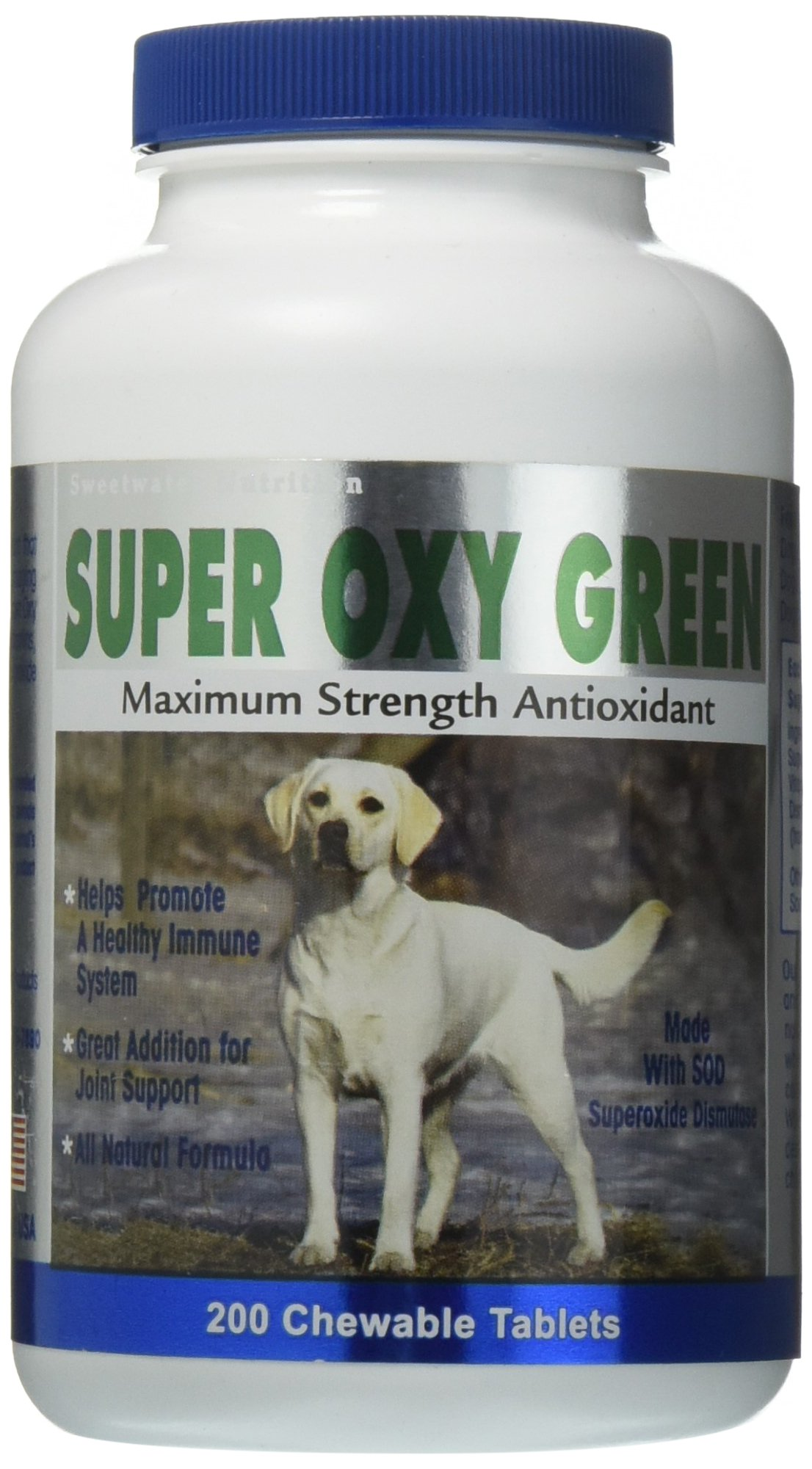 Super Oxy Green Maximum Strength Antioxidants for Dogs - 200 Count by KR Naturals