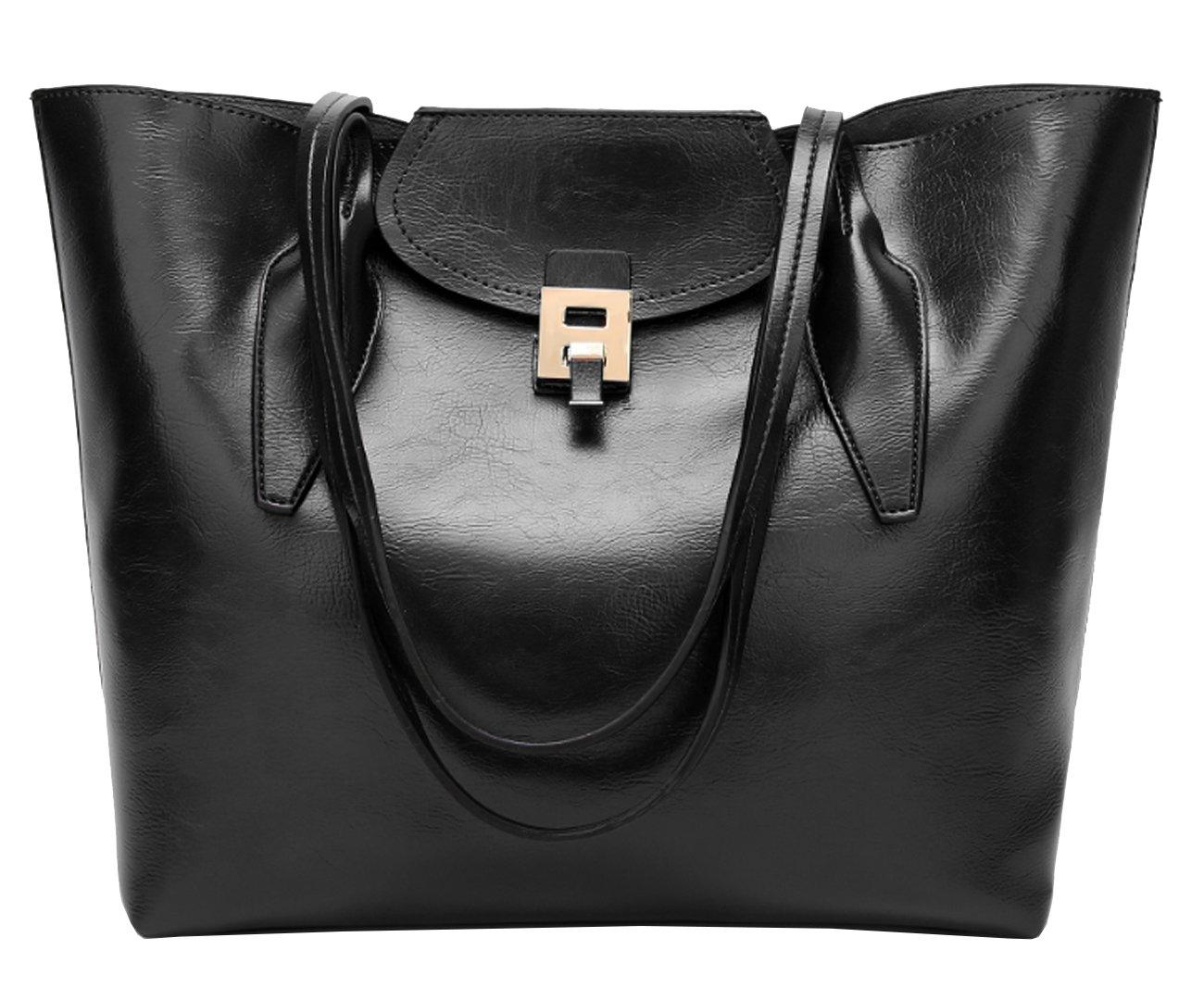 Women's Vintage Genuine Leather Bag Tote Shoulder Bag Handbag Model Satis (Black)