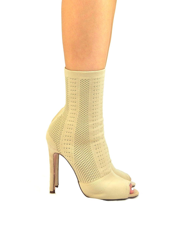 Emelia-1 Slim Heel Peep Toe Women's Sock Bootie