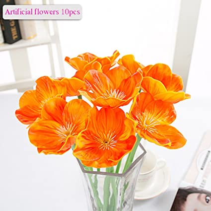 Amazon artificial flowers meiwo 10 pcs nearly natural artificial flowers meiwo 10 pcs nearly natural artificial poppies flowers for wedding bouquets home mightylinksfo