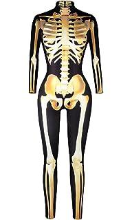 Amazon.com  URVIP Women Halloween Skeleton Costume Stretch Skinny ... 42eaa88ef