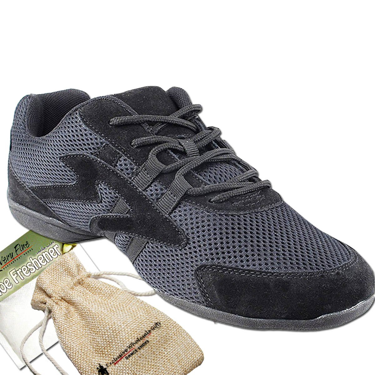 Bundle- 4 items - Very Fine Mens Womens Unisex Practice Dance Sneaker Split Sole VFSN012 Pouch Bag Sachet, Low Profile:Black 11 M US
