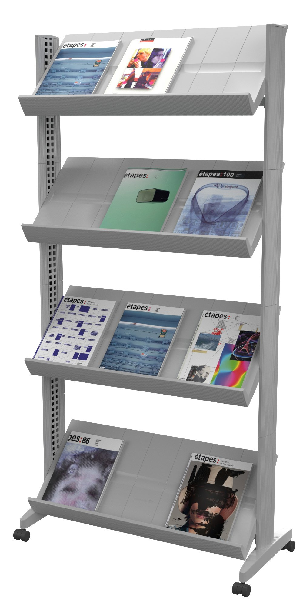 PaperFlow 66 x 33.67 x 15.17 Inches XL Mobile Literature Display, Single Sided, 4 Shelves, Silver (UPP3.35) by Paperflow (Image #1)