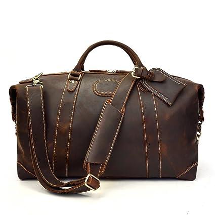 Borsone da viaggio, Borsa da viaggio in vera pelle per uomo Borsa da viaggio vintage ad alta capacità in pelle di vacchetta (Dark Brown)