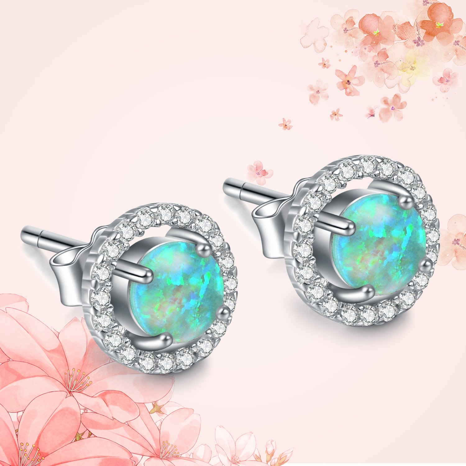 1e583ea69 Amazon.com: Sterling Silver Simulated Opal Earring Studs, Halo Earrings,  Cubic Zirconia Halo Earrings for Women Jewelry (Green): Jewelry