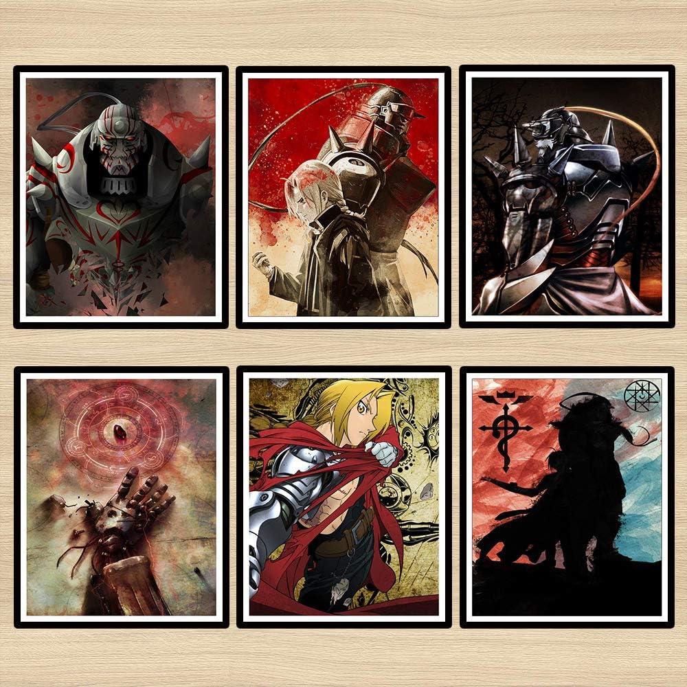 Z Color FMA Fullmetal Alchemist Alphonse Illustration Anime Poster Wall Decor Canvas Art Print,8 x 10 Inches,No Frame,Set of 6