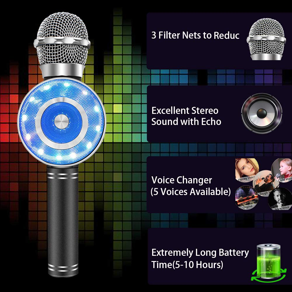 Wireless Karaoke Microphone, Handheld Bluetooth Microphone with Speaker and light Echo Mic Portable Karaoke Player for Kid Adult Girl Home Party Singing Birthday Gift, Compatible iPhone Android by Weird Tails (Image #3)