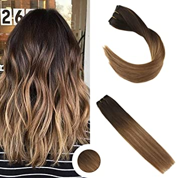 Ugeat 20 2612 Balayage Brun Remy Echthaar Extensions Clip In 100