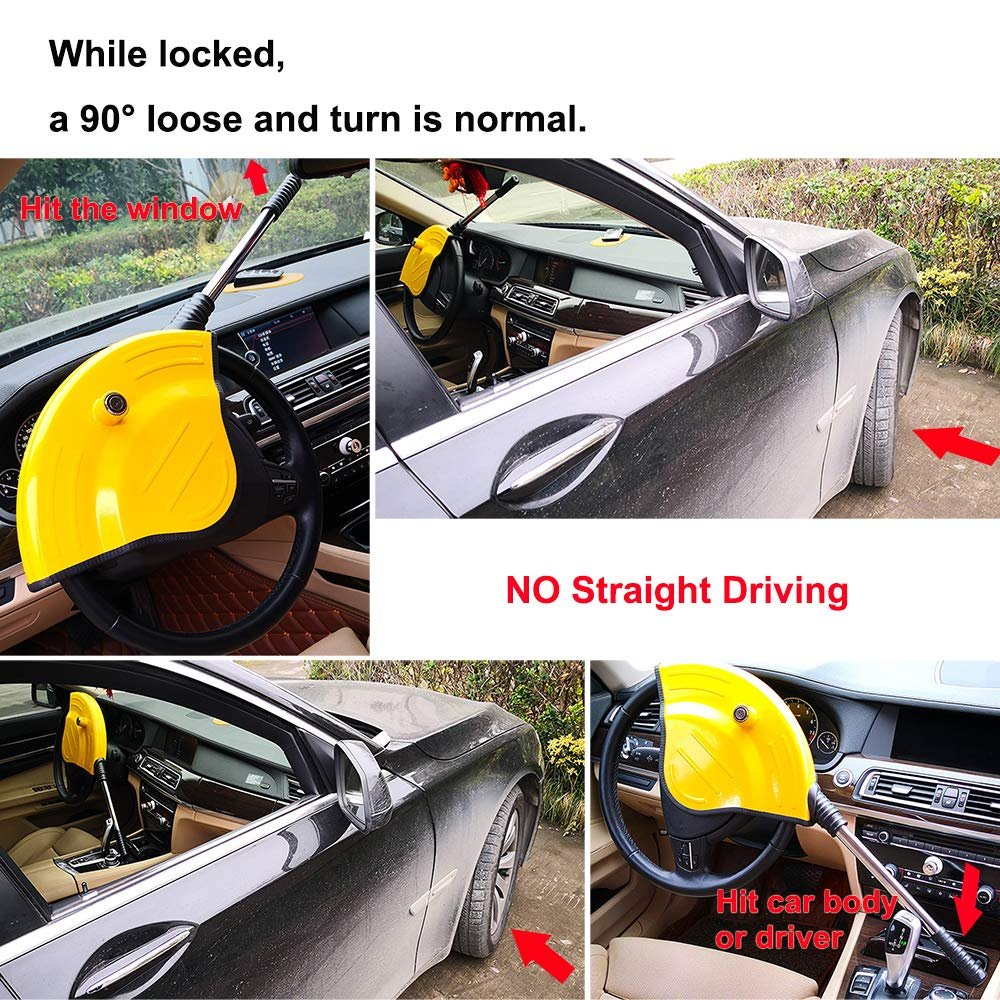 Oklead Universal Car Steering Wheel Lock - Full Cover Airbag Anti Theft Locking Device For Car Suv Pickup With 2 Keys by Oklead (Image #3)