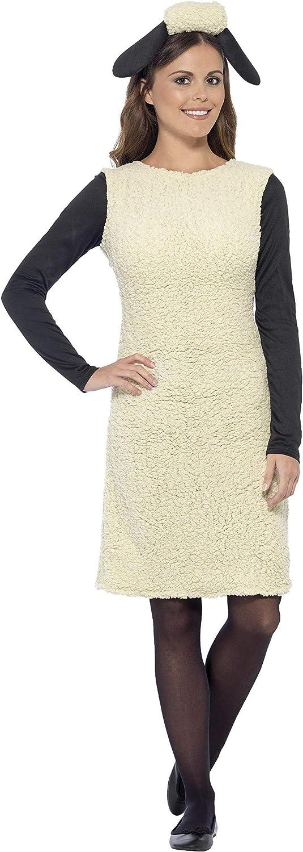 Smiffy'S 20605S Disfraz De Shaun The Sheep Con Vestido Y Diadema, Blanco, S - Eu Tamaño 36-38