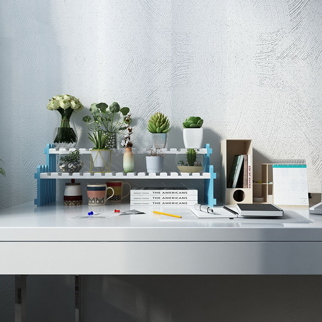 LYM &Ripiani di Piante Mensola per Fiori in Legno massello, espositore Multi-Strato per Fiori in Vetro per Ufficio Desktop Blu e Bianco Pot di Fiore Decorativi (Dimensioni   50cm)