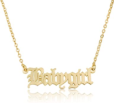 Old English Name Letter  Font Custom Old English Name Necklace English Font Name Necklace Old English Jewelry collana 925 sterling silver