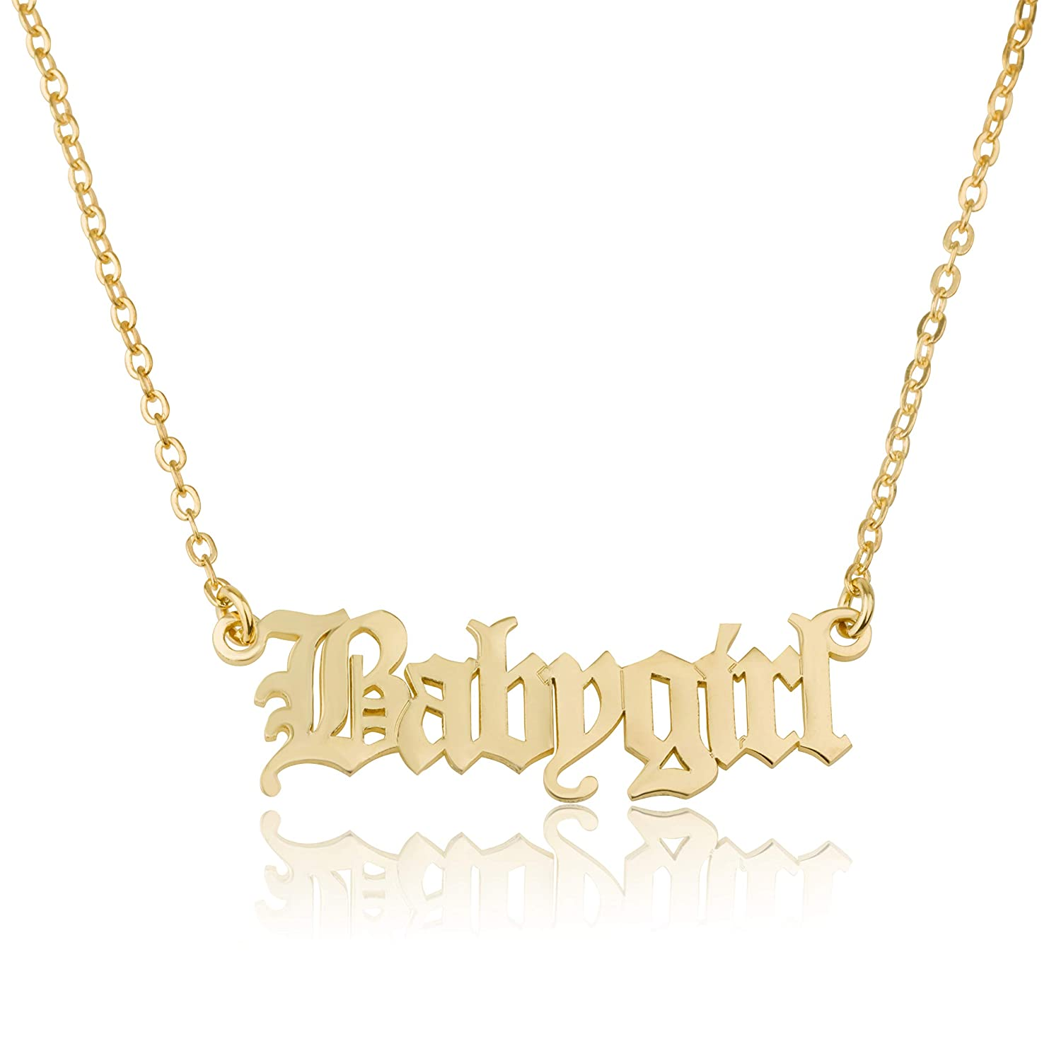 ea3a62a3d7cf6b Amazon.com: Beleco Jewelry Personalized Old English Font Name Necklace  Custom Made Sterling Silver Or Gold Plated: Jewelry