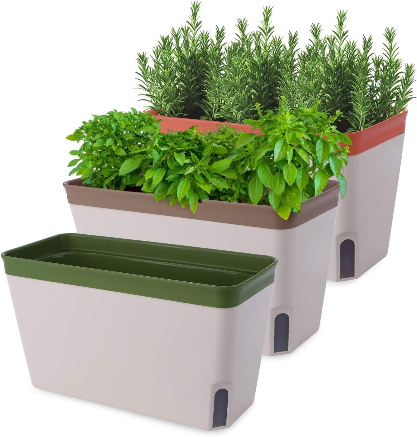 Akarden Windowsill Herb Planter Box, 3 Set Rectangular Self Watering Indoor Garden for Kitchens, Grow Plants, Flowers or Succulents, Large Water Reservoir