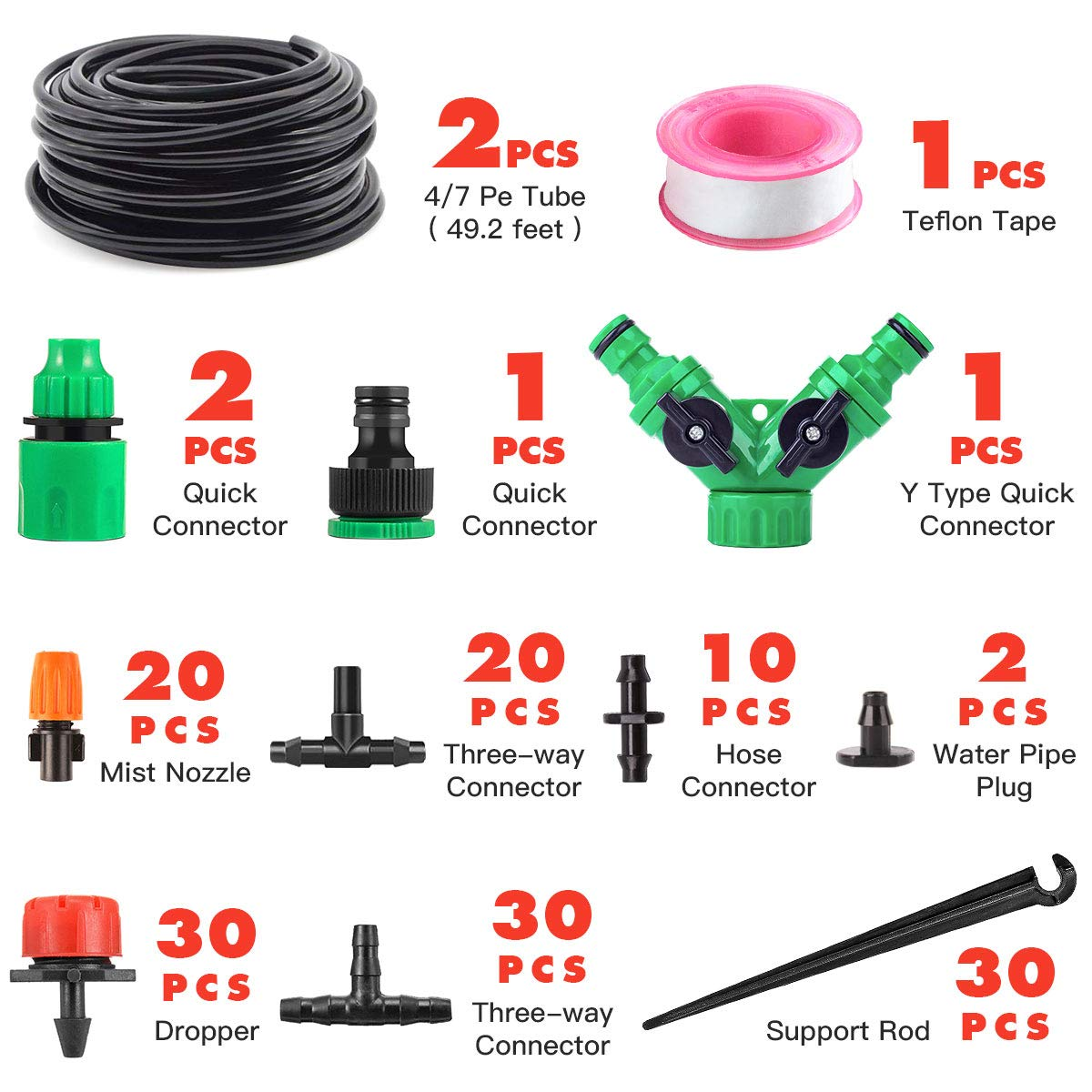 Garden Automatic Drip Irrigation Set,30m Adjustable Micro DIY Irrigation Kit Plant Water Saving System,1//4 Heavy Duty Tube Watering Kit for Patio Lawn Garden Greenhouse Flower Bed