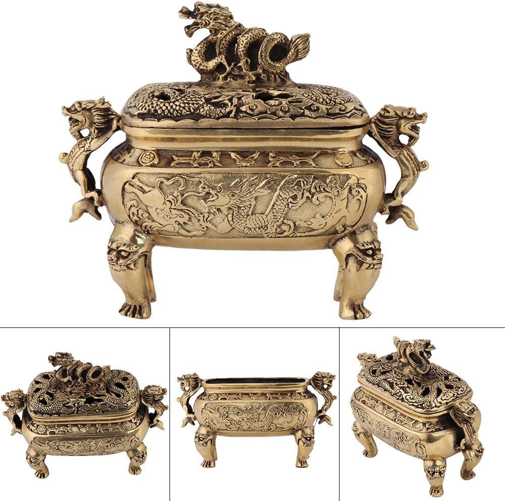 Chinese Ancient Tibetan Buddhism brass Old bronze incense burner Censer 13cm