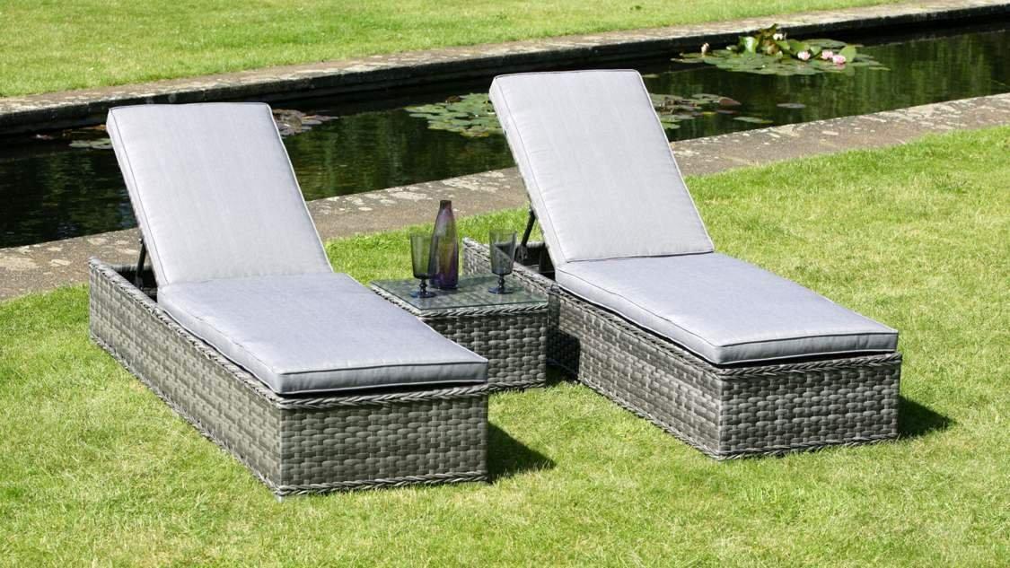 Pacific Lounger Set, 3 Teile, Rattan/Wicker Liegestuhl/Sonnenliege, Gartenmöbel, Design Lilo und Stitch