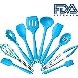 10Pcs/set Silicone Heat Resistant Kitchen Cooking Utensils Non-Stick Baking Tool tongs ladle gadget by BonBon (Blue)