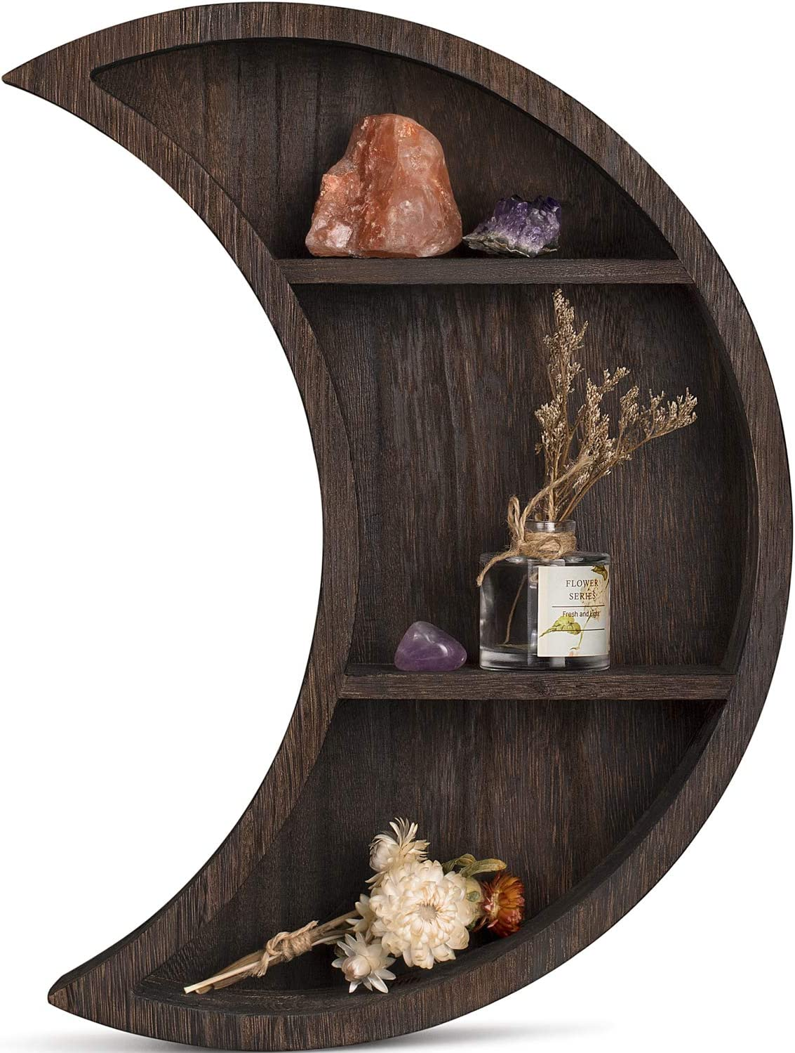 Dahey Wall Mounted Moon Shelf Wooden Floating Shelves Hanging Storage Display Shelf Home Wall Decor for Living Room Bedroom Bathroom Kitchen