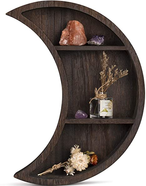 Amazon Com Dahey Wall Mounted Moon Shelf Wooden Floating Shelves Hanging Storage Display Shelf Home Wall Decor For Living Room Bedroom Bathroom Kitchen 12 L 3 D 16 H Kitchen Dining