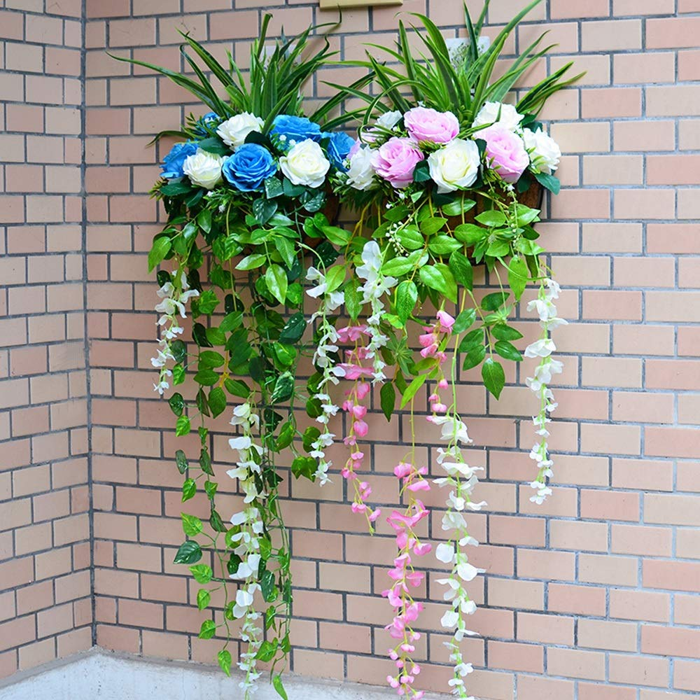 YI GAO Simulation Flower Set Wall Living Room Flower Basket Wall Hanging Basket Fake Flower Rose Plant Wall Balcony Decoration Flower @ (Color : H) by YI GAO