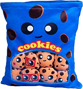 Plushies Doll a Bag of Cookie Toy Stuffed Soft Snack Pillow Plush Yummy Food Toy for Birthday Gift, Stuffed Toy Game Pillow Cushion Gift for Kids ( Blue)