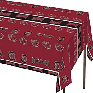 Creative Converting University of South Carolina Print Plastic Tablecloth, Gamecocks
