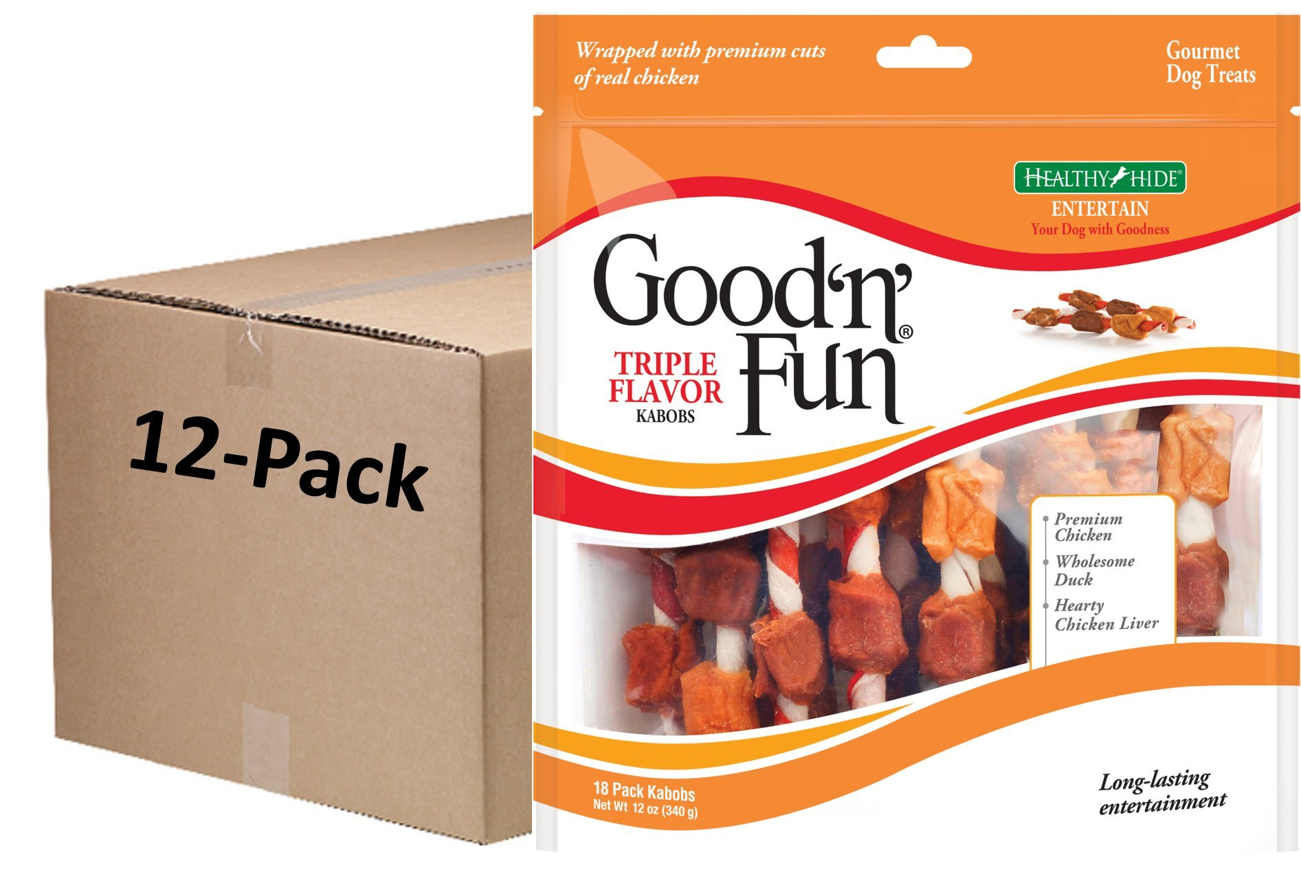 Good'N'Fun Triple Flavored Rawhide Kabobs For Dogs, 12 Oz (Pack Of 216) by Healthy Hide (Image #1)