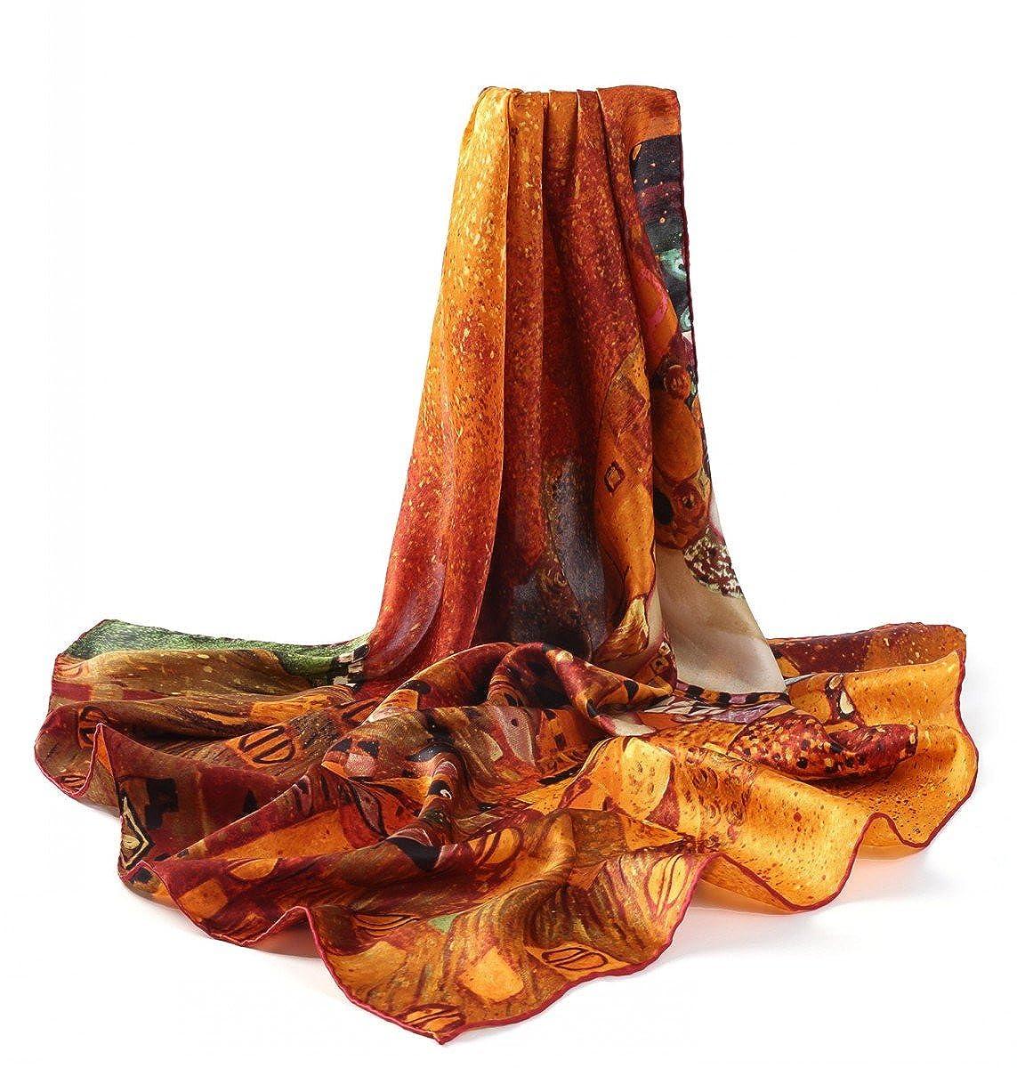 diferentes motivos Gustav Klimt Prettystern 90cm Art Nouveau Arte pa/ño pintura impresi/ón hecha de 100/% sat/én de seda