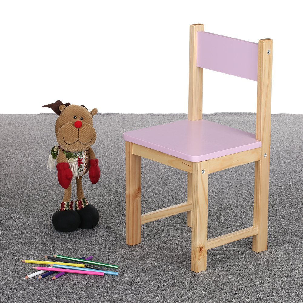 IKAYAA Wooden Kids Chair Stacking School Chair Furniture 6 Colors Available, Purple