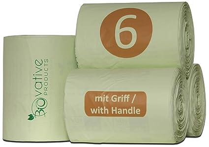 Bolsas de basura orgánica compostable 6L con y sin asa - 100 ...