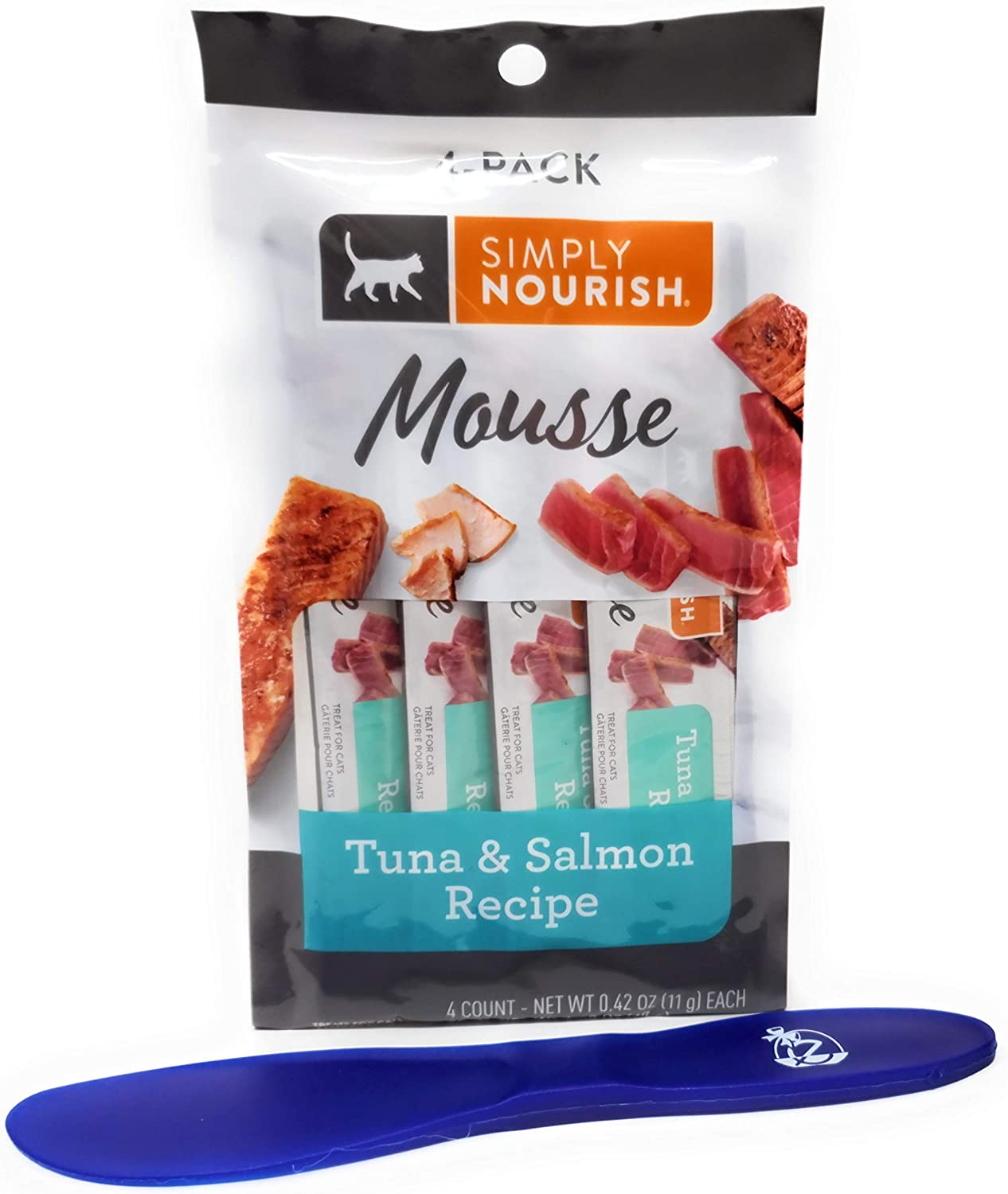 SIMPLY NOURISH Cat Mousse Treat, Tuna and Salmon, 4 Pouches (Pack of 5) and Especiales Cosas Spatula
