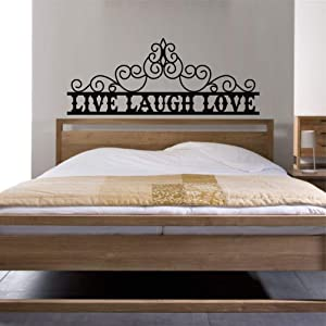 "Metal Wall Decor, Over Bed Sign, Bedroom Wall Art, Above Door Sign, Bathroom Decoration, Live Laugh Love Decoration (47""W x 19""H / 118x48cm)"