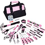 FASTPRO Pink Tool Set, 220-Piece Lady's Home Repairing Tool Kit with 12-Inch Wide Mouth Open Storage Tool Bag