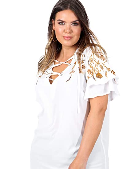 88d8534a2dfd3 Koko Plus Size Women s White Lace-up Floral Embroidered Top  Amazon ...