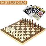 "iBaseToy Folding Wooden Chess Set with 60 Game Rules Cards For Adults Kids Beginners Large Chess Board - 15"" x 15"" x 1"""