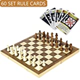 iBaseToy Folding Wooden Chess Set with 60 Game Rules Cards, Perfect Chess Game for Kids Adults Beginners