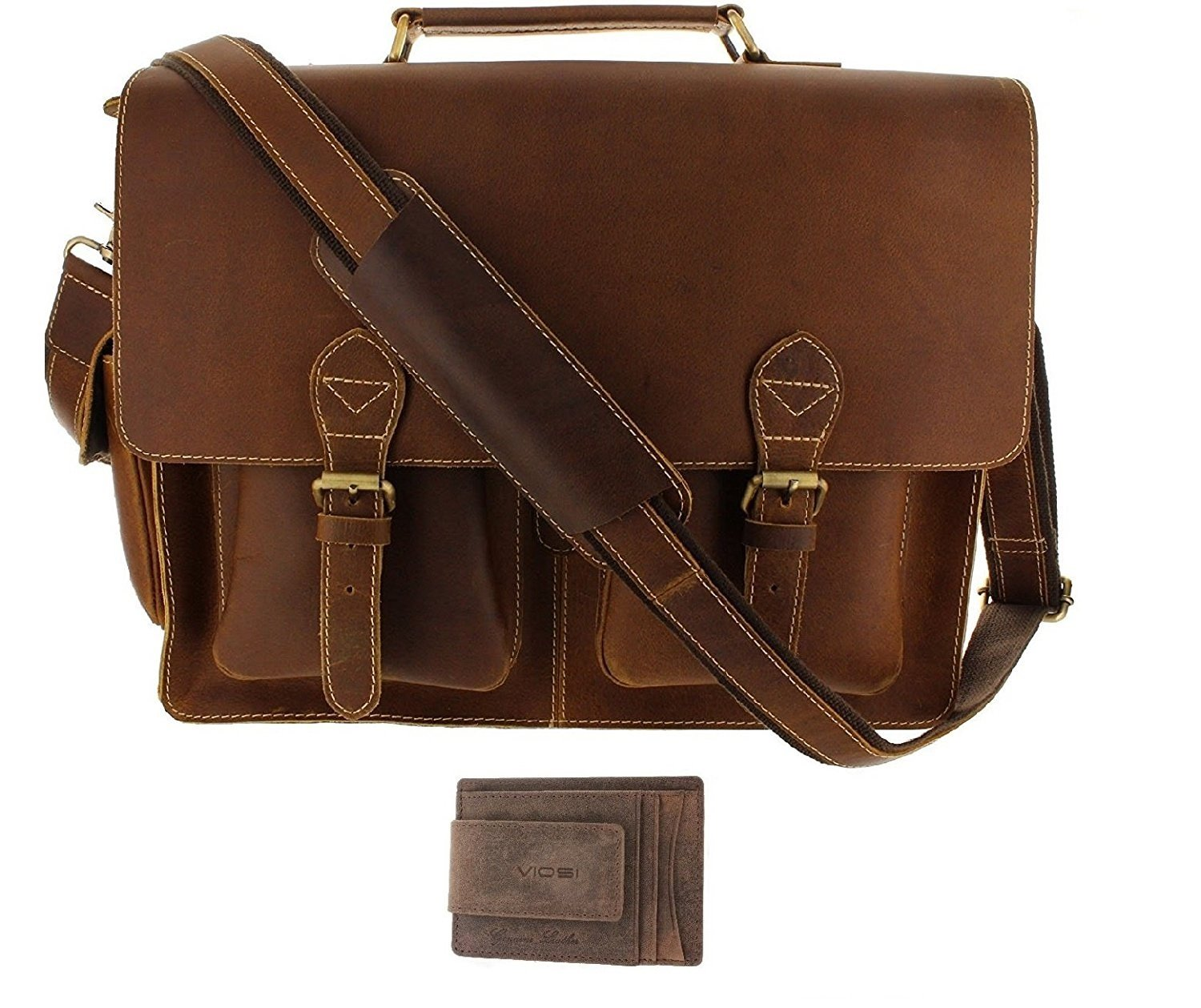 Viosi 16'' Genuine Leather Laptop Briefcase Messenger Bag Front and Side Pockets
