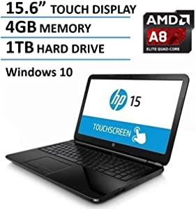 2016 HP 15.6-Inch Touchscreen Laptop, AMD Quad-Core A8-7410 Processor, 4GB RAM, 1TB HDD, DVD+/-RW, AMD Radeon R5, HDMI, Wifi, Webcam, Windows10