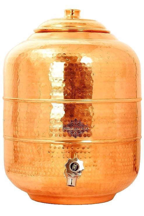 Indian Art Villa Copper Water Pot Tank Dispenser|Storage Water|Benefit Yoga Ayurveda| 236 OZ…
