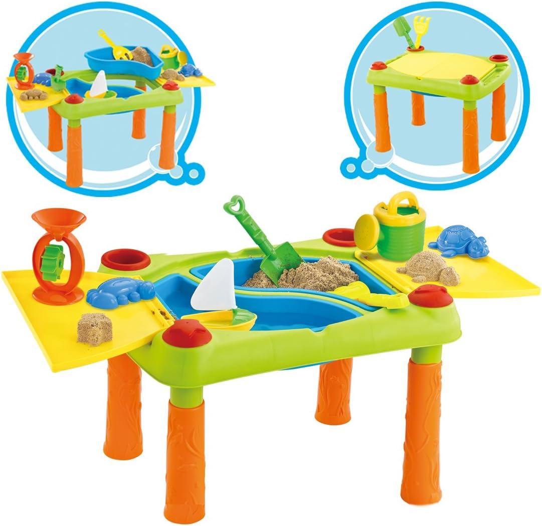 deAO Mesa para Agua y Arena con Compartimento Doble y Tapas Mesita de Juegos y Actividades Infantiles al Exterior Incluye Accesorios y Moldes