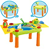 deAO Sand and Water Play Table for Kids Outdoor Activity Table Double Compartment and Lids Including Accessories