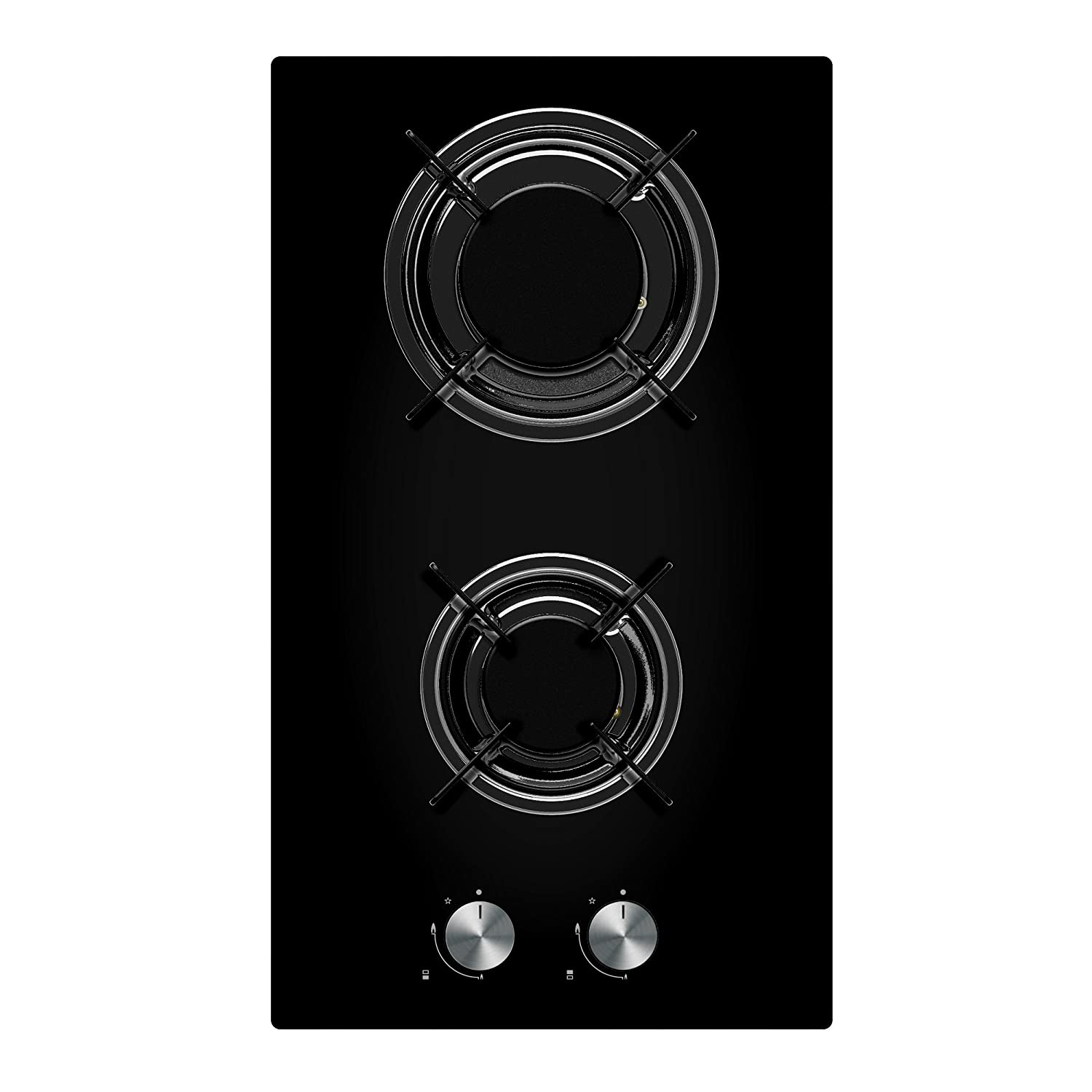 Cookology Gas-on-Glass Domino Hob GGH300BK | 30cm, Built-in, Black Glass & Auto Ignition