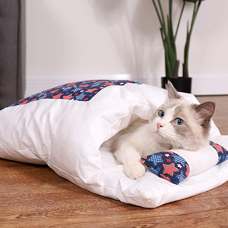 Cómoda Y Cálida Cama para Mascotas, Saco De Dormir para Perros Gatos Calentamiento Lavable Camas para Mascotas Acurrucarse Saco Manta Colchoneta Gatos Perros Nido Cueva Casa,Armada,S