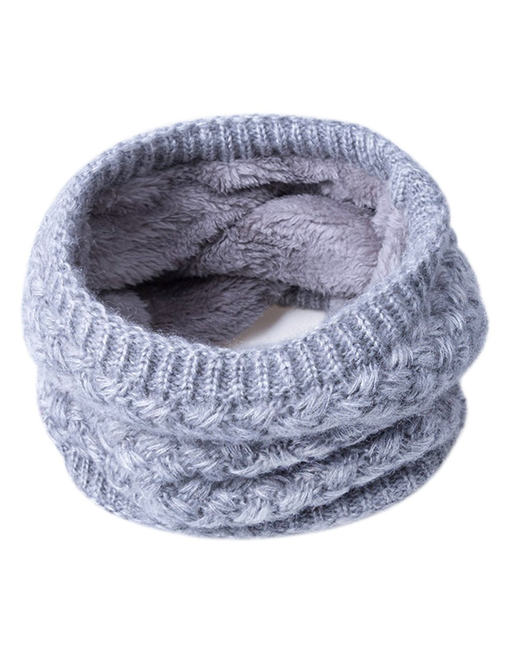 ADUO Winter Knitted Infinity Scarf Double-Layer Fashion Fleece Lining Knit Neck Warmer Circle Scarf for Women Men