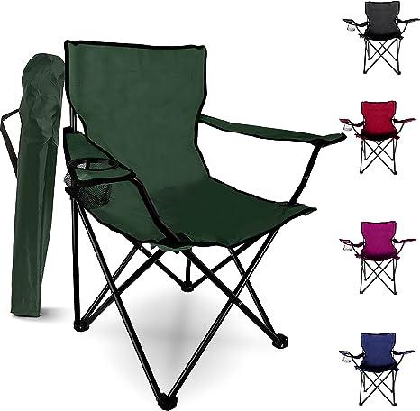 Sedia pieghevole da campeggio – Sedia da giardino portatile da esterno, design leggero, con portabicchieri – ideale per l'estate per andare in spiaggia, prendere il sole, pesca, e barbecue (verde)