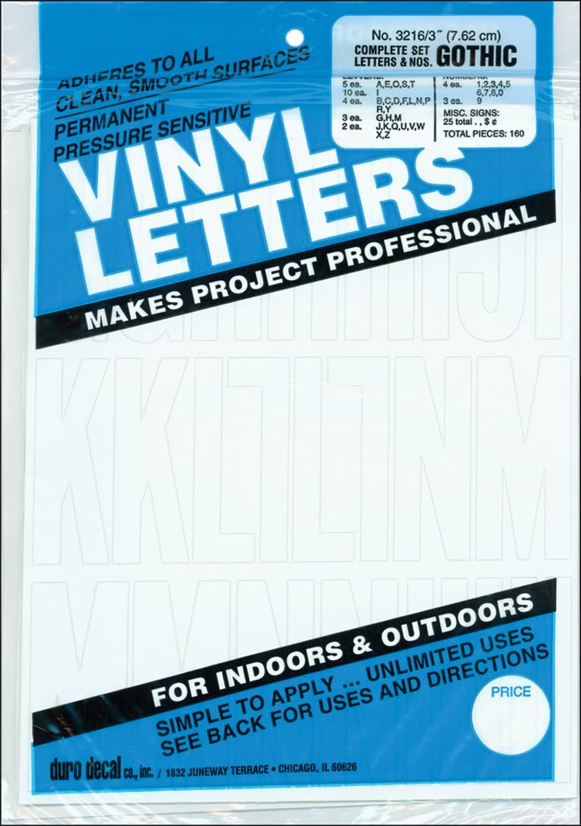 Graphic Products Permanent Adhesive Vinyl Letters /& Numbers 3 160//Pkg-White