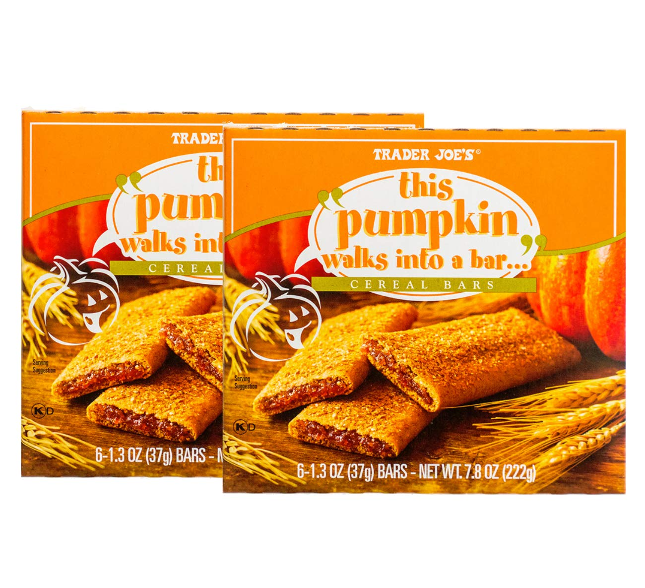 Trader Joe's''This Pumpkin Walks Into a Bar'' Individually-Wrapped Natural Cereal Bars - 12 Ct. (1.3 oz) by FCV
