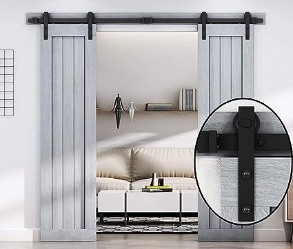 8 FT Double Sliding Barn Door Hardware Track Kit,Carbon Steel,Black Powder  Coating