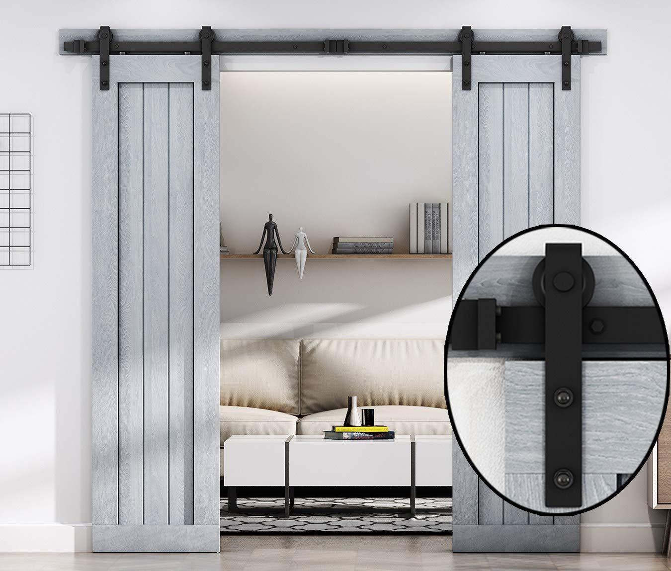 8 FT Double Sliding Barn Door Hardware Track Kit,Carbon Steel,Black Powder Coating (8 Foot Double Door Kit)